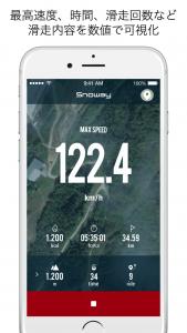最高速度、時間、滑走回数など滑走内容を数値で可視化