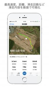 最高速度、距離、滑走回数など滑走内容を数値で可視化
